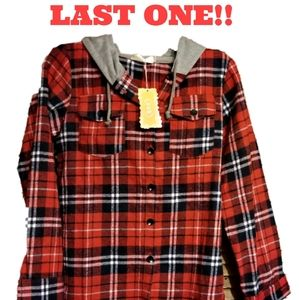 LAST ONE! Youth Sized Button Up Hooded Flannel Top